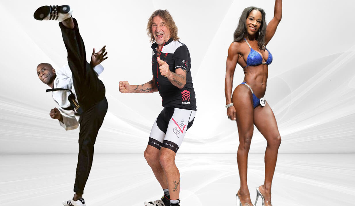 FitLine fitness routines with Achim Heukemes, Jana Stewart, and Michael Parchment